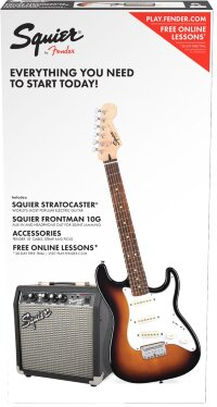 Squier Stratocaster® Pack, Laurel Fingerboard, Brown Sunburst, Gig Bag, 10G - 230V EU Комплект: электрогитара (санберст) + комбо